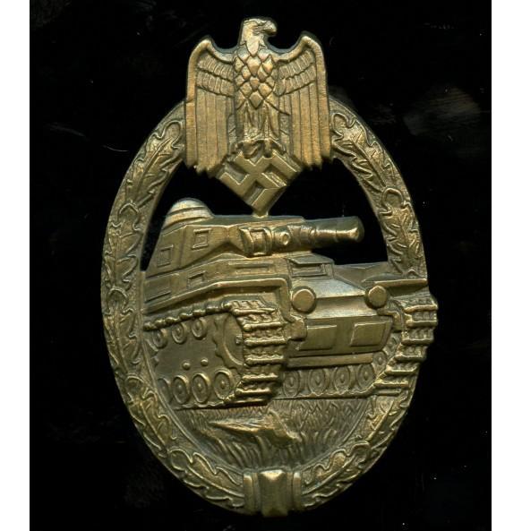 "Panzer assault badge in bronze by Karl Wurster ""w"" massive tombak"