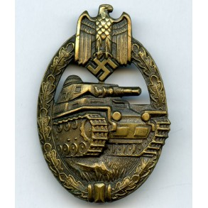 Panzer assault badge in bronze by Karl Wurster
