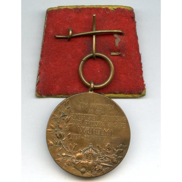 1897 Prussian Kaiser Wilhelm I centenary medal, single mount