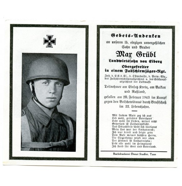 Death card to FJ Paratrooper Max Grübl, KIA Smolensk area 1943