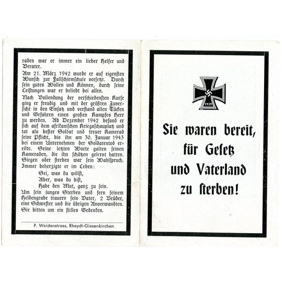 Death card to FJ Paratrooper H. Krüppel, KIA Tunisia 1943