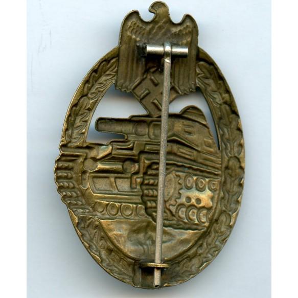 Panzer assault badge in bronze by Otto Schickle