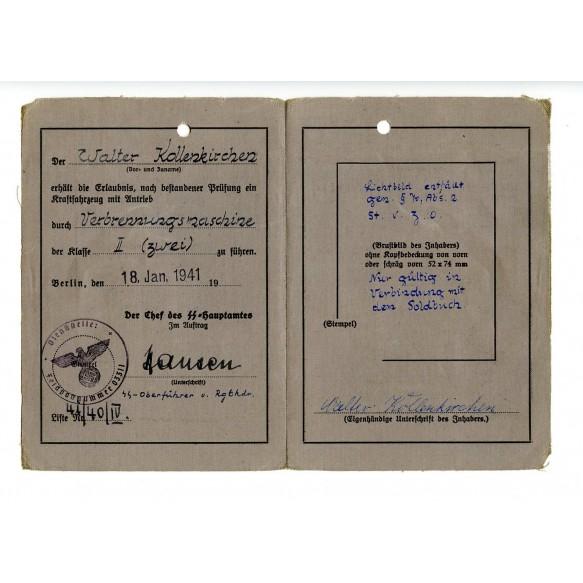 """SS driver license to W. Kollenkirchen SS Artillerie Division """"Das Reich"""" Peter Hansen signature"""