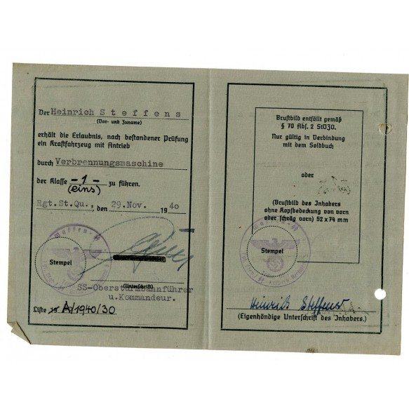 SS driver license to H. Steffens, SS-Panzer-Division Wiking, KIA 1941, signed W-SS General Herbert Otto Gille