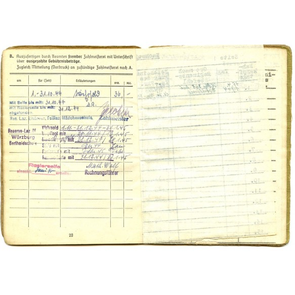 Soldbuch to O.Gefr. Erich Kilian, Jäger Regiment 54, WIA, 1 close combat day
