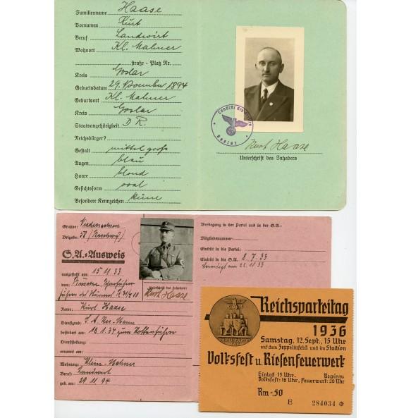 SA grouping to SA-Rottenführer Kurt Haaze from Goslar, 2 passes and RPT 1936 entry card