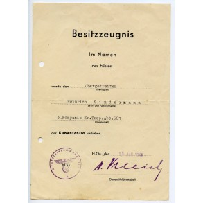 Kuban shield award document to OGefr. H. Sindermann, Kr. Trsp. Abt 561