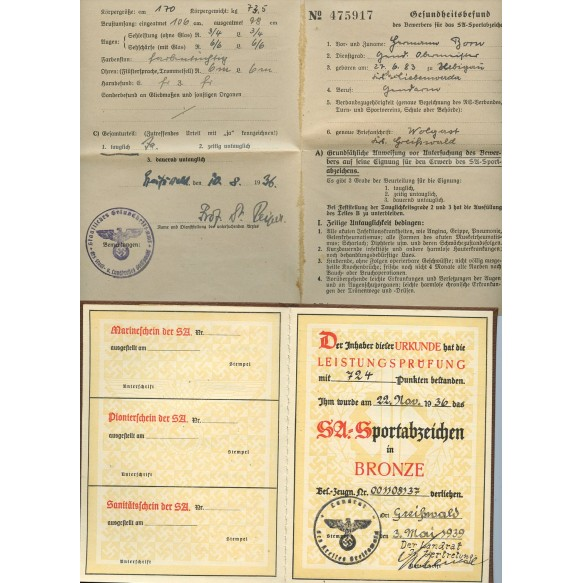SA sport badge award book, document and pass to Oberleutnant der SS Polizei H. Born from Wolgast, Polizei Stettin Poland