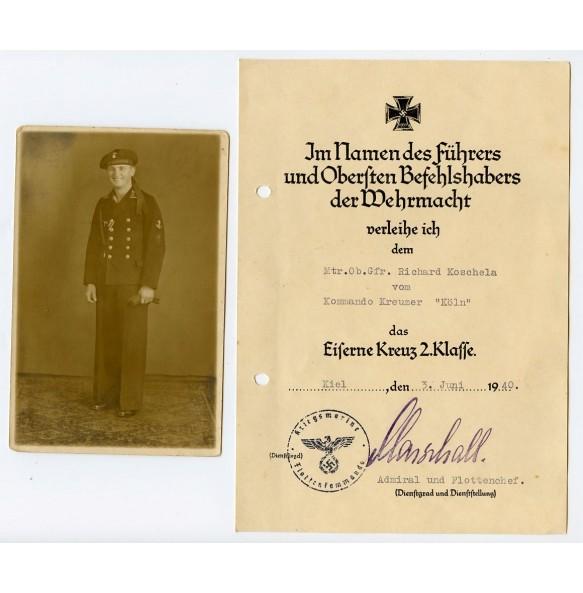 """Iron cross 2nd class award document to Matr. ob. gefr. Richard Koschela """"Kreuzer Köln"""" 1940"""