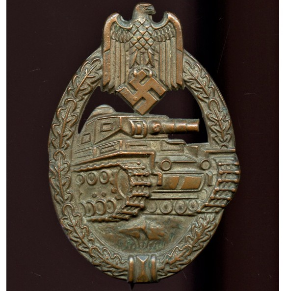 "Panzer assault badge in bronze by Rudolf Souval ""RS"""