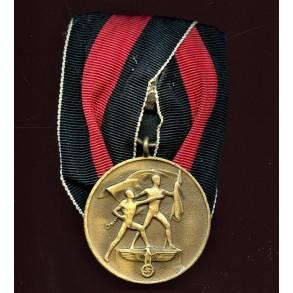 1. October 1938 Czech annexation medal single mount