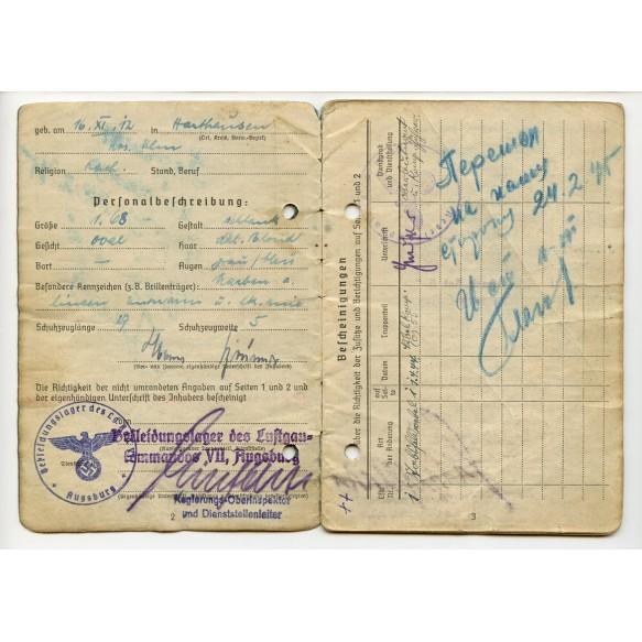 "Soldbuch to Stabsfeldw. H. Brünner, FJ Pz Reg ""Hermann Göring"", Nebeltruppe der LW"
