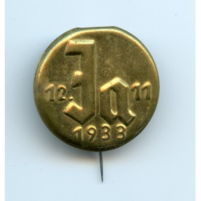 "1933 Adolf Hitler election ""Ja"" promotion pin"