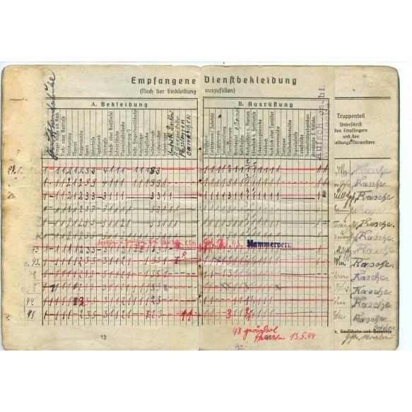"Soldbuch to H. Rasche, driver heavy flak units, SS-Flak-Abt 2 ""Das reich"" Normandy 1944"