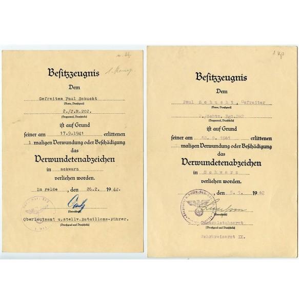 Set of 2 wound badge in black documents to the same Gefreiter P. Schucht