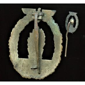 Kriegsmarine minesweeper badge by C.E. Juncker + miniature