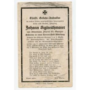 Death card to J. Siglreitmaier, EK1, EK2, Army flak badge!