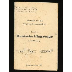 German Luftwaffe planes recognition card for October 1942