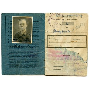 Luftwaffe Soldbuch (Ersatz) to H. Schiff. Fallschirmjäger nachrichten Bardufoss, Norway 1944