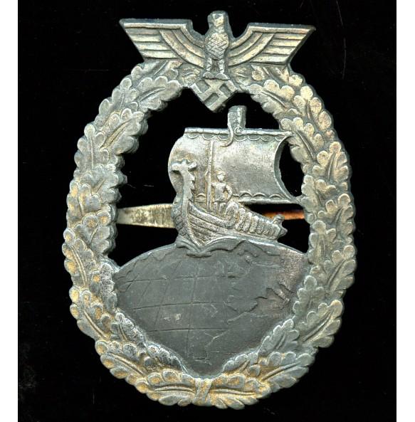 Kriegsmarine auxiliary cruiser badge by Bacqueville, Paris