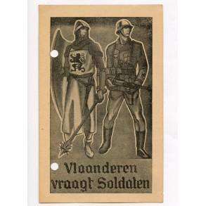 "Flemish SS recruitment card ""Vlaanderen vraagt soldaten"""