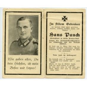 Death card to H. Pauch, Demjansk shield, KIA 1944
