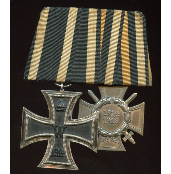 1914 medal bar with iron cross and 1914-1918 honor cross