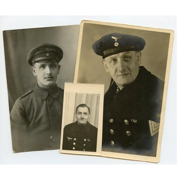 Set of 3 photos from WW1 soldier to WW2 Kriegsmarine
