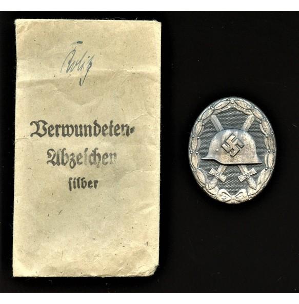 """Wound badge in silver by Steinhauer & Lück """"integral 4"""" + package"""
