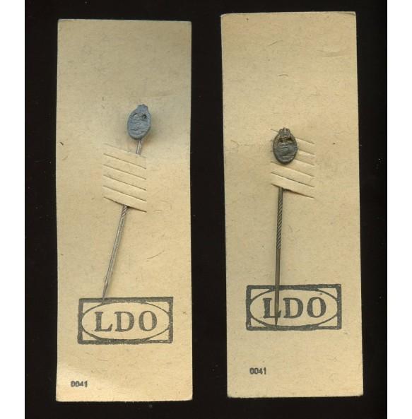 Panzer Assault Badge in bronze and silver 9mm miniatures set on LDO cardboard by Steinhauer & Lück