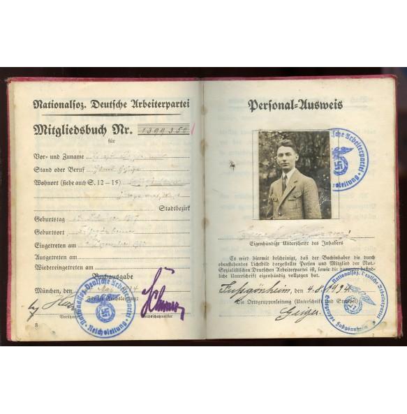 NSDAP party booklet Ernst .. from Fußgönheim NSDAP entry 1932