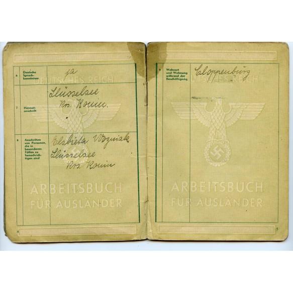 German foreigner pass to Jozef Wozniak from Leśniewo Poland, tailor in Cloppenburg 1944