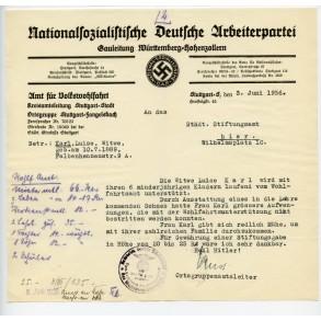 NSDAP document Gauleitung Württemberg-Hohenzollern