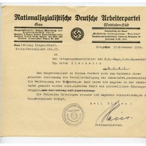NSDAP document Westfalen-Süd, Bochum. family tree control