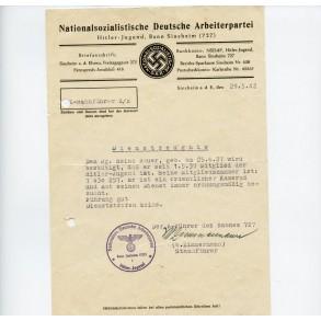 NSDAP HJ document Bann Sinsheim