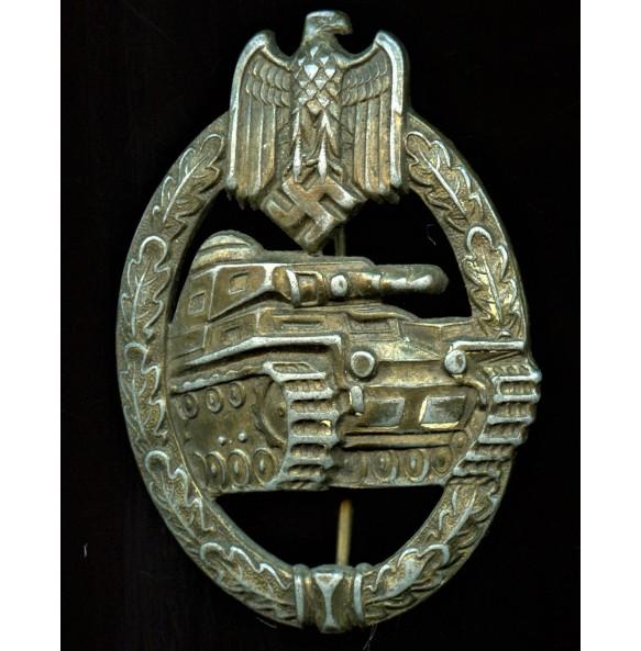 """Panzer assault badge in bronze by F.W. Assmann & Sohn """"A"""" cut out"""