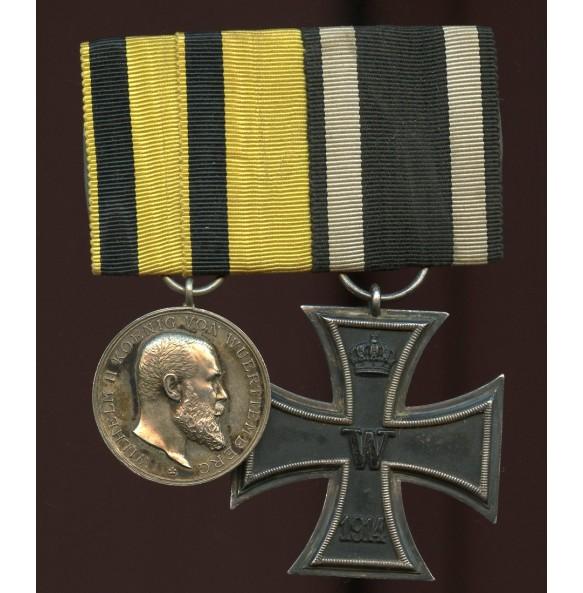1914 Medal bar EK2 and Württemberg bravery medal