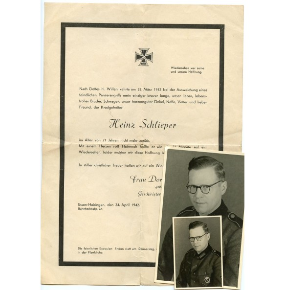 Death notice and portrait photo to H. Schlieper, KIA in a Panzer attack on the Eastern front