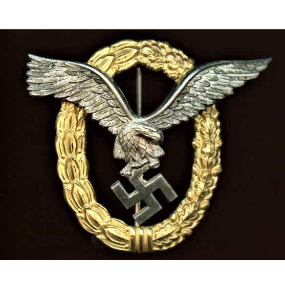 """Luftwaffe combined pilot observer badge by Gebr. Wegerhoff """"GWL"""""""
