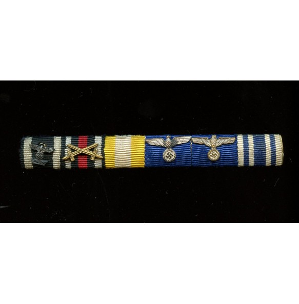 6 place long service ribbon bar with iron cross clasp 2nd clasp