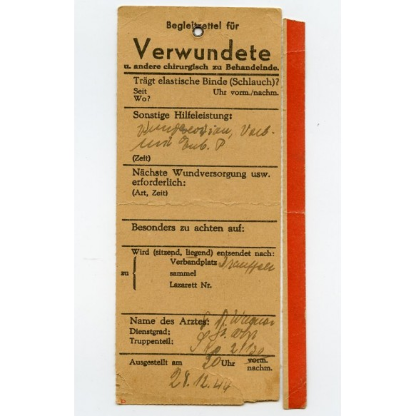 "Wounded card Uffz. Hummel, ""Pz-Aufk.-Lehr-Abt 130"" Battle of the Bulge, Bastogne, Rochefort 1944"