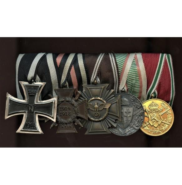Medal bar with 1914 EK2 and NSDAP 10 year service medal
