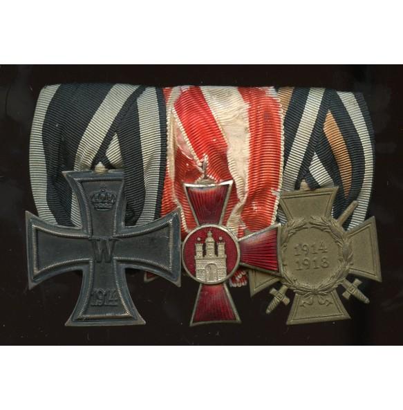 1914 medal bar with EK2, Hamburg Hanseatic Cross and 1914-18 honor cross