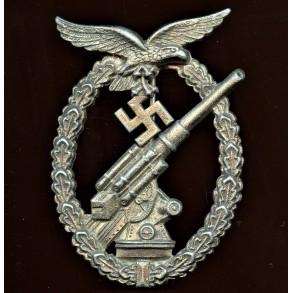 """Luftwaffe flak badge in silver by Gebr. Wegerhoff """"GWL"""""""