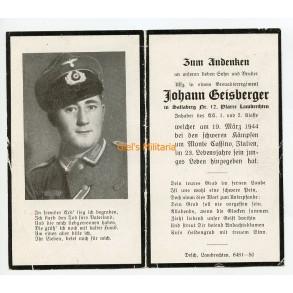 Death card to J. Geisberger, EK2, EK1, KIA Monte Cassino Italy 19.3.1944