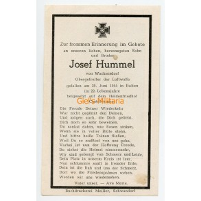 Death card to J. Hummel, KIA Italy, Castelvenere, Napels, Benevento 1944