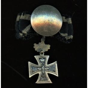 1870 Iron cross 2nd class with 25 year jubilee oak leaf attachment button miniatur