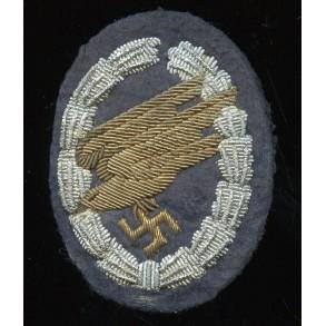 Luftwaffe paratrooper badge in bullion