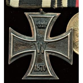 1870 iron cross medal bar, 25 year jubilee oaks, 4 battle clasps