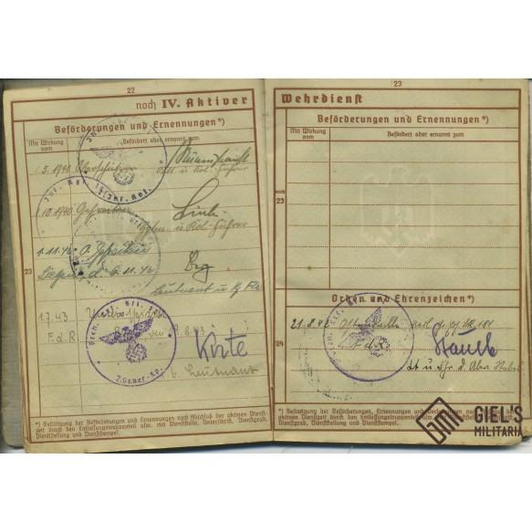 Wehrpass to Robert Schmidt, IR181, Poland, Westfeldzug, Russia
